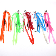 4pcs Silicone Skirt Jig Replacement with hook Slider Rig Spare Hooks sliding kabura style lures hook 13# 5 colors