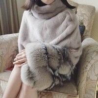Роскошные зимние реального норки пальто Для женщин 2018 из натурального меха пончо шаль Fox манжеты женский меховая натуральный норки Меховая