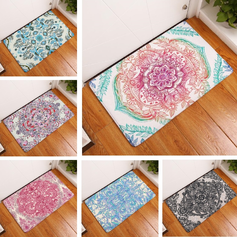 Door Mat Mandala Mat Flower Printed Suede Rug Home