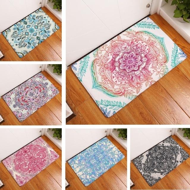 Door Mat Mandala Mat Flower Printed Suede Rug Home Decoration ...