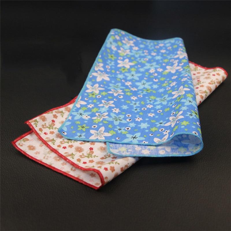 Mantieqingway Floral Dot Handkerchiefs Wedding Or Party Cotton Pocket Square Towel Bright Color For Mens Suit  Women Hanky