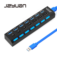 JZYuan USB HUB 3.0 7 Ports Portable Micro USB 3.0 HUB Splitter On/Off Switch For PC Macbook High Speed 5Gbps USB Splitter HUB orico 10 ports super speed usb hub 7 ports usb3 0 5gbps 3 usb charging ports for iphone ipad vl812 chip silver m3h73p