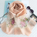 200X88CM Silk Luxury Brand Women Winter Wool Scarf Echarpe Foulard Femme Shawls Flower Embroidery Bandana Scarves Wraps Hijab S6