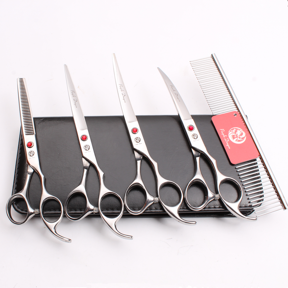 Z3003 5Pcs Set 7 Silvery Pets Hair Steel Comb + Cutting Shears + Thinning Scissors + Professional Dogs Cats Curved Shears Suit