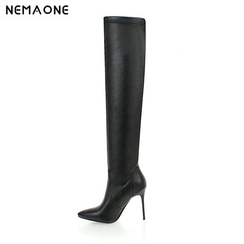New Autumn And Winter Women Boots Square 10cm Super High Heel Women Shoes Over The Knee Casual Party Shoes Large Size 34-43 2019 spring autumn sweet knee high 9cm super high heel women boots thin women shoes party shoes it s green apricot and red