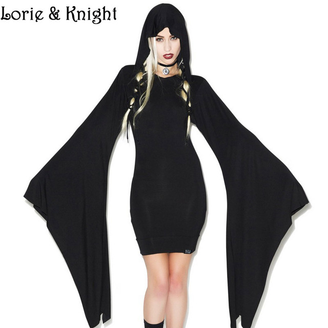Gothic Rock Woman Hooded Dress Halloween Witch Costume Dress BLACK ...