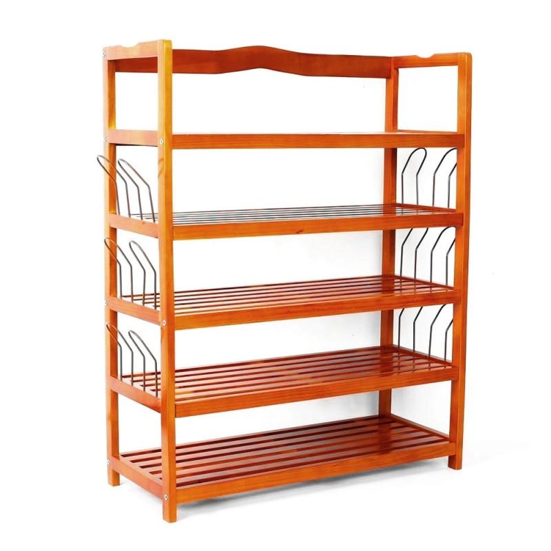 Lovinland Furniture 5 Tier Wooden Shoe Rack Multi Layer Shoe Shelf Rack Storage Easy Shoe Organizer Racks for Shoes US stock