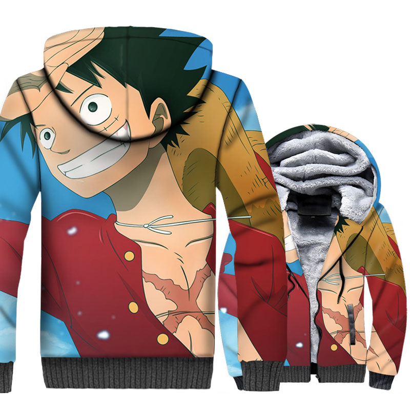 Anime One Piece Hoodies 3D Men Luffy Sweatshirts Winter Thick Hipster Jackets The Pirate King Coat Plus Size 5XL Brand Clothing