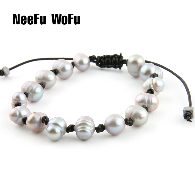 NeeFu WoFu Bracelets Natural Freshwater Pearl Leather Rope Braided Bracelet Charm Fashion Pearl Bohemia Bracelet