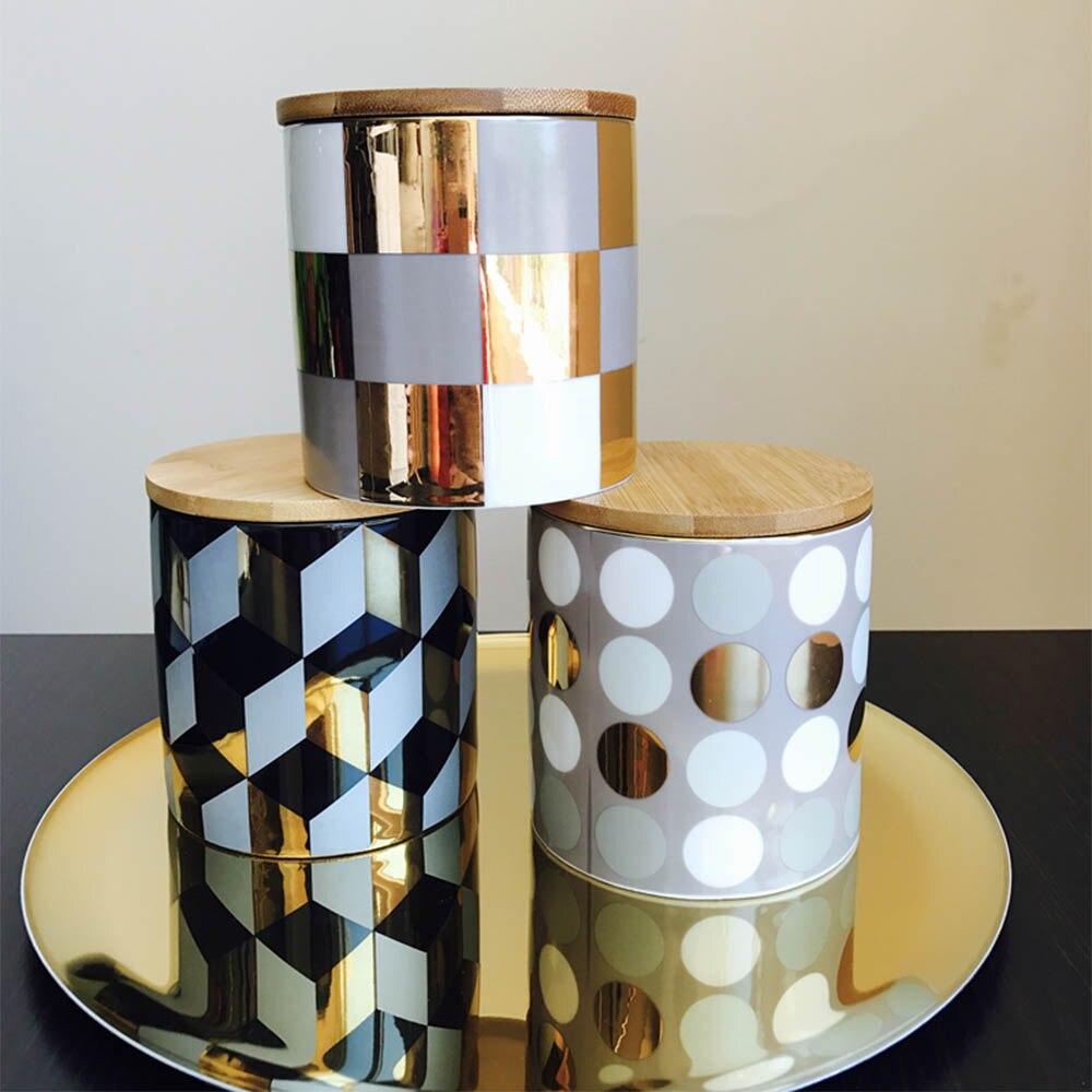 Северное золото бак для хранения домашнего Керамика резервуар украшения Печать Чай Pots и зерна бак с деревянной крышкой