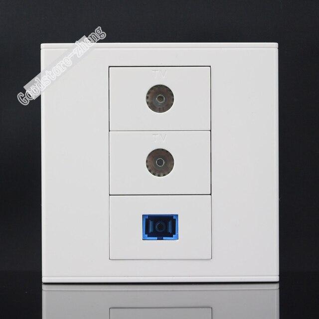 prise murale plaque 3 ports double tv socket sc fiber optique jack panneau fa ade sortie. Black Bedroom Furniture Sets. Home Design Ideas