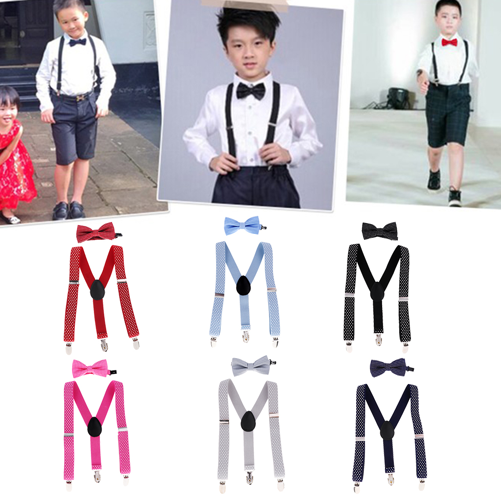 Unisex Kids Boys Girls Adjustable Slim Y-back Suspenders Belt & Tie For Dress Trousers Jeans Shorts Pants Multi Colors