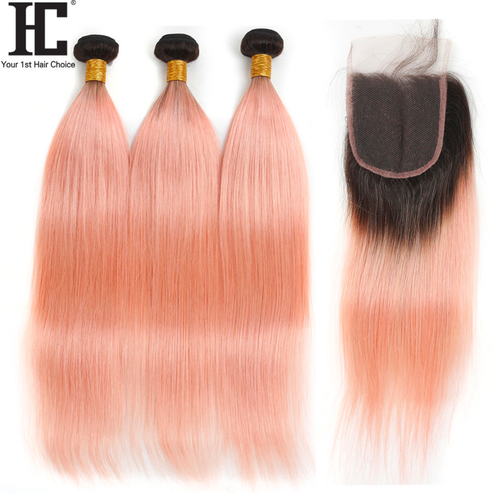 HC Brazilian Bundles With Closure 1b/pink Straight Hair Bundles With Closure 2 Tone Remy Human Hair Weave 3 Bundles With Closure