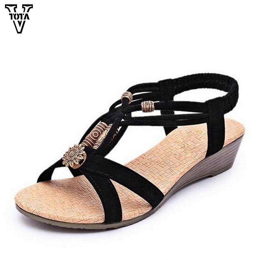Vtota Brand Sandals Women Rhinestone Summer Shoes Wedges Slip On Sandal Wanita Tali Gladiator Manik Rendah Tumit Sepatu Musim Panas Kasual