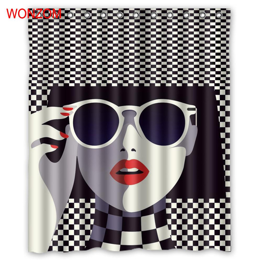 WONZOM Polyester Fashion Girl Shower Curtains with 12 Hooks For Bathroom Decor Modern 3D Black And White Bath Waterproof Curtain