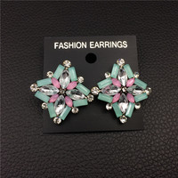Korean Fashion Jewelry Exaggerated Earrings New Style Korean Women Pink Crystal Earrings Wholesale