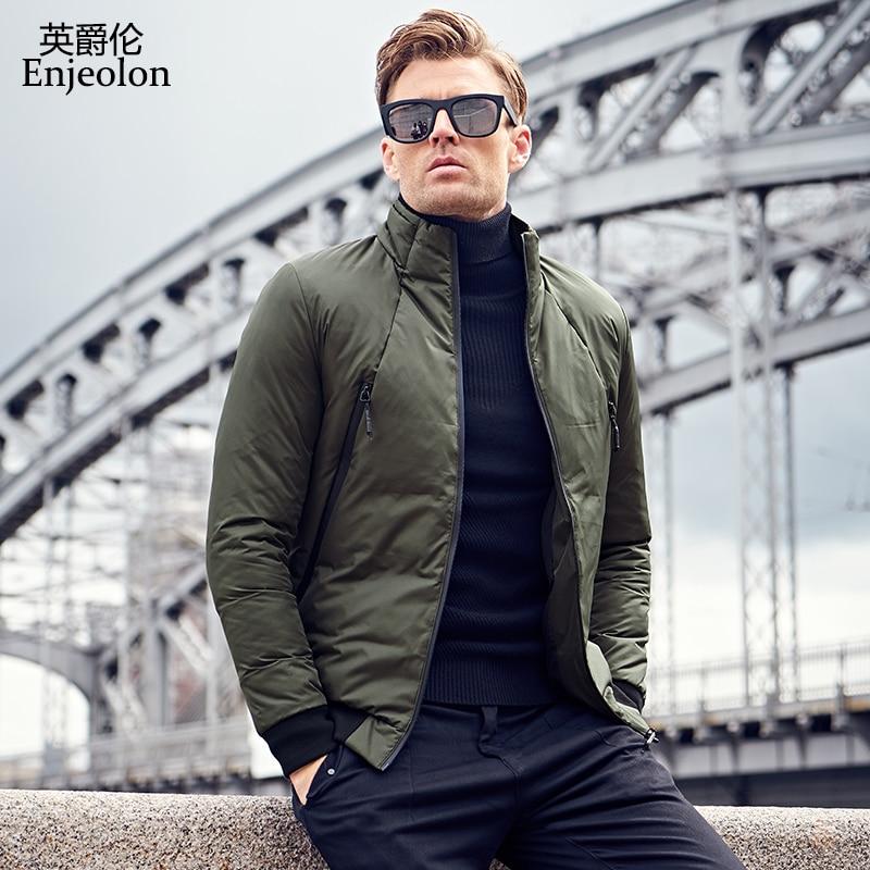 Enjeolon Marque Coton Rembourré Veste manteau Hommes Parka caot mâle vert noir solide manteau 3XL Épais Matelassé de mode Manteau Hommes MF0011