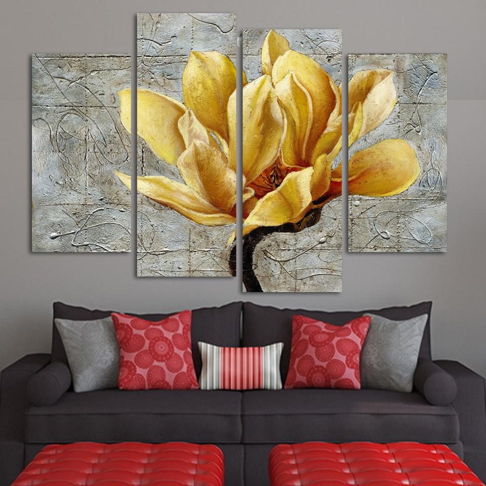 Mode Unframed Abstract Schilderij 4 Panelen goud Bloem Modern Olieverfschilderij Wall Art Gift Top Home Decoration