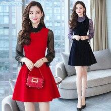 New Arrivals Fashion Women Dress Party Elegant Blue Autumn Winter Casual Slim Vestidos Two-piece Suit Red Dresses Female