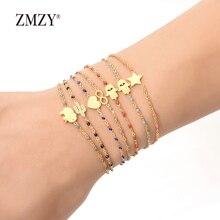 ZMZY золотой тонкий браслет из нержавеющей стали, красочные звенья цепи, тонкие очаровательные браслеты для женщин, модные женские/девичьи ювелирные изделия