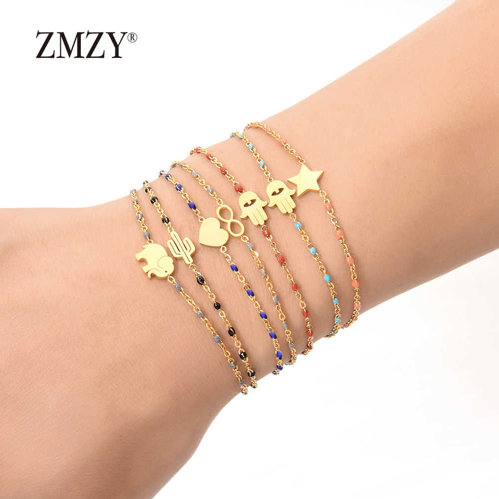 ZMZY Gold Slim Stainless Steel Bracelet Colorful Link Chain Thin Charm Bracelets for Women Fashion Women/Girls Jewelry
