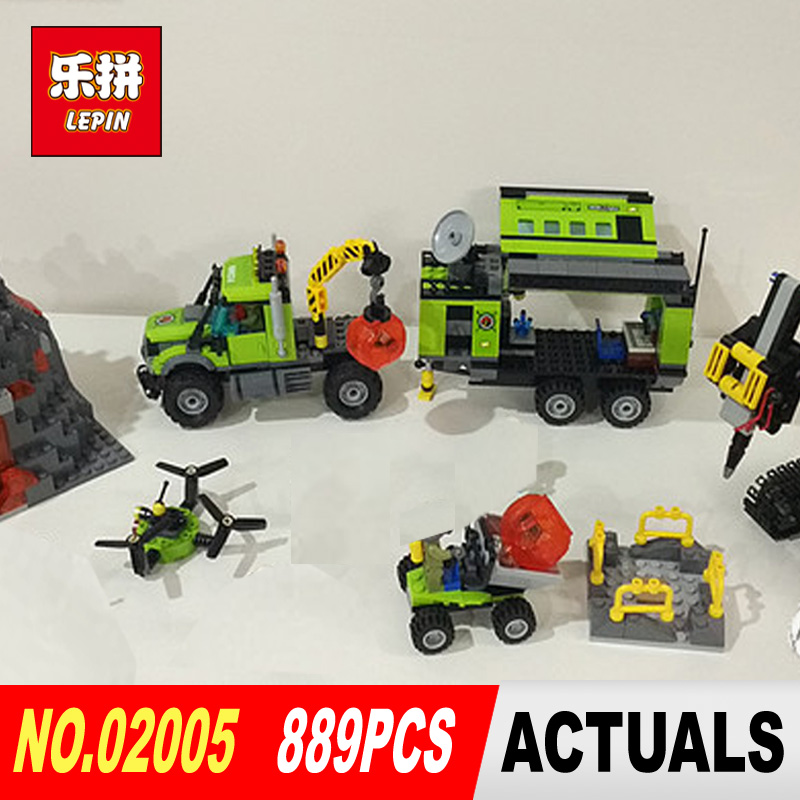 LEPIN 02005 889Pcs City series Volcanic expedition base Model Building blocks Bricks Compatible 60124 Toy for Gift