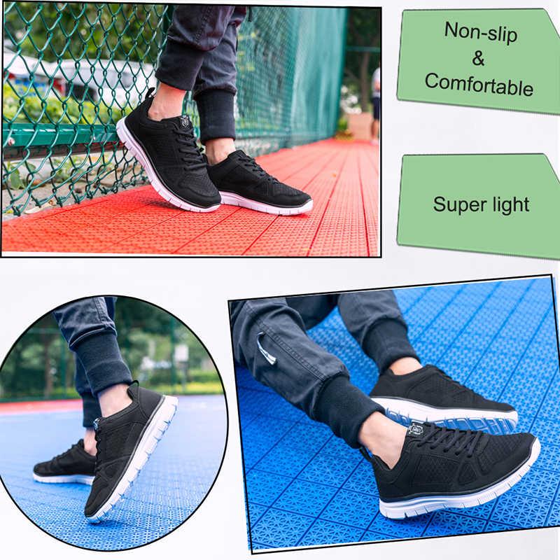 Musim Panas Pria Kasual Sepatu Super Ringan Bernapas Mesh Sepatu Pria Hitam Berjalan Alas Kaki Besar Ukuran 40-49 50 Gratis DROP Pengiriman