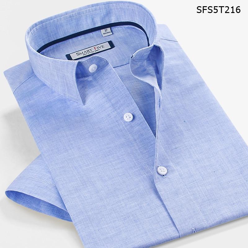 Smart Five 57% Linen Men Shirt 2016 Short Sleeve Slim Fit Dress Male Shirts Brand  Imported Clothing Camisa Masculina