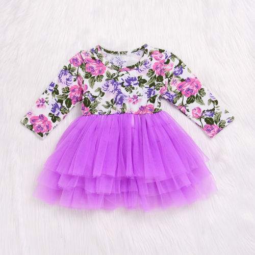 Toddler Baby Girl Floral Long Sleeve Tulle Tutu Princess Dress Outfits Clothes