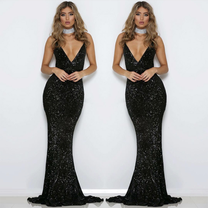 Black Sequined V Neck Party Dress Backless Bodycon Maxi Dresses Mermaid Dress Elegant Evening Club Gown
