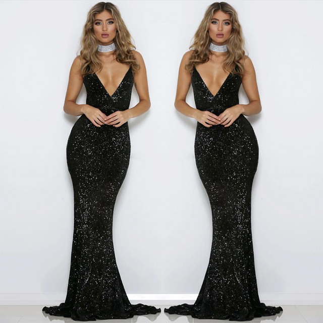 0df78531 Black Sequined V Neck Party Dress Backless Bodycon Maxi Dresses Mermaid  Dress Elegant Evening Club Gown Dresse
