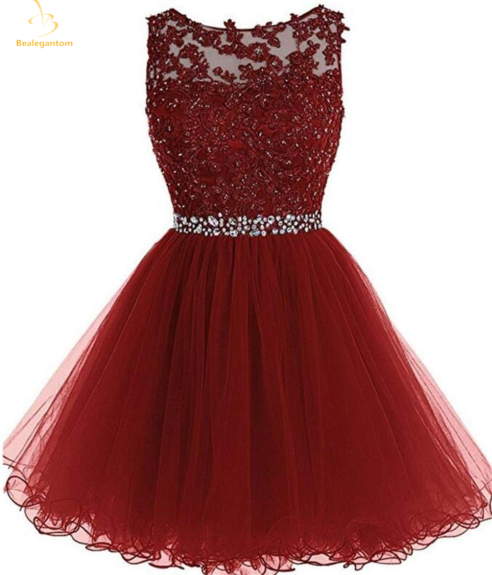 Bealegantom New Cheap Scoop Sexy Short Homecoming Dresses 2019 With Appliques Beading Prom Party Dresses Graduation Dress QA1436
