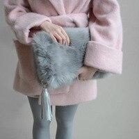 نساء حقائب جلدية أزياء فو الفراء الشرابة حقيبة شخصية اليوم مخلب محفظة الشتاء السيدات أضعاف حقيبة bolsas