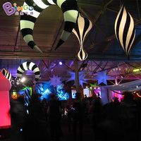 Charming black and white led lighting decoration inflatable cresent for night club toys
