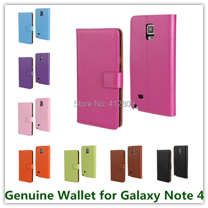 Fashion Genuine Leather Stand Skin Folding Wallet Style Pouch Cover Case for Samsung Galaxy Note 4 Cellphone Bags Free
