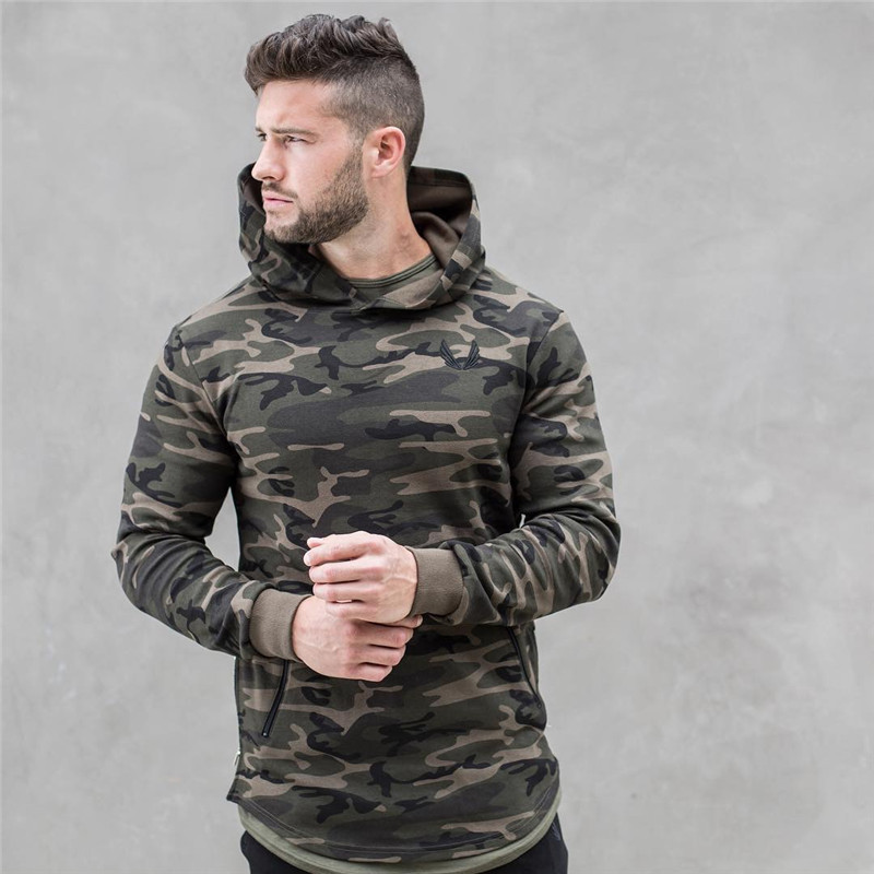 2018 spring new Mens Camouflage Hoodies Fashion leisure pullover fitness Bodybuilding jacket Sweatshirts sportswear clothing