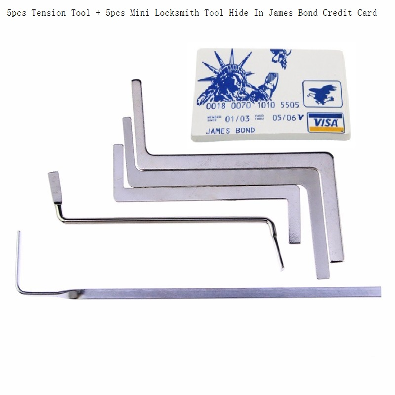 5pcs Stainless Steel Double Row Tension Tool Remove + 5pcs Mini Locksmith Tools Hide In James Bond Credit Card For Lock pick set