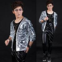 Silver Personalized sequins man jacket Singer stage men coat rock fashion clothing mens jackets and coats masculino Customizable