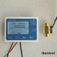 US211M Flow Meter Totalizer Flow Measurement with USC HS21TIT Brass Water Flow Sensor with Temperature Sensor