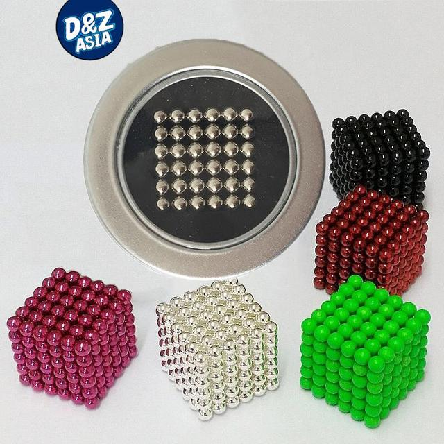 5mm 216pcs/set cube Magnetic Balls toys Puzzle Magnet Block Cubo Magico Toys with Tin metal Box