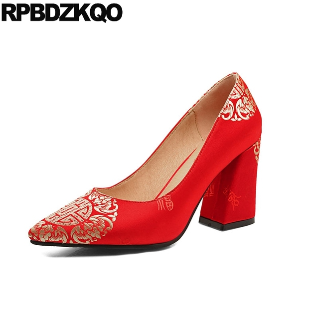 04608dfbee3915 bride high heels flower embroidery thick medium red brand women shoes 2018  embroidered size 4 34