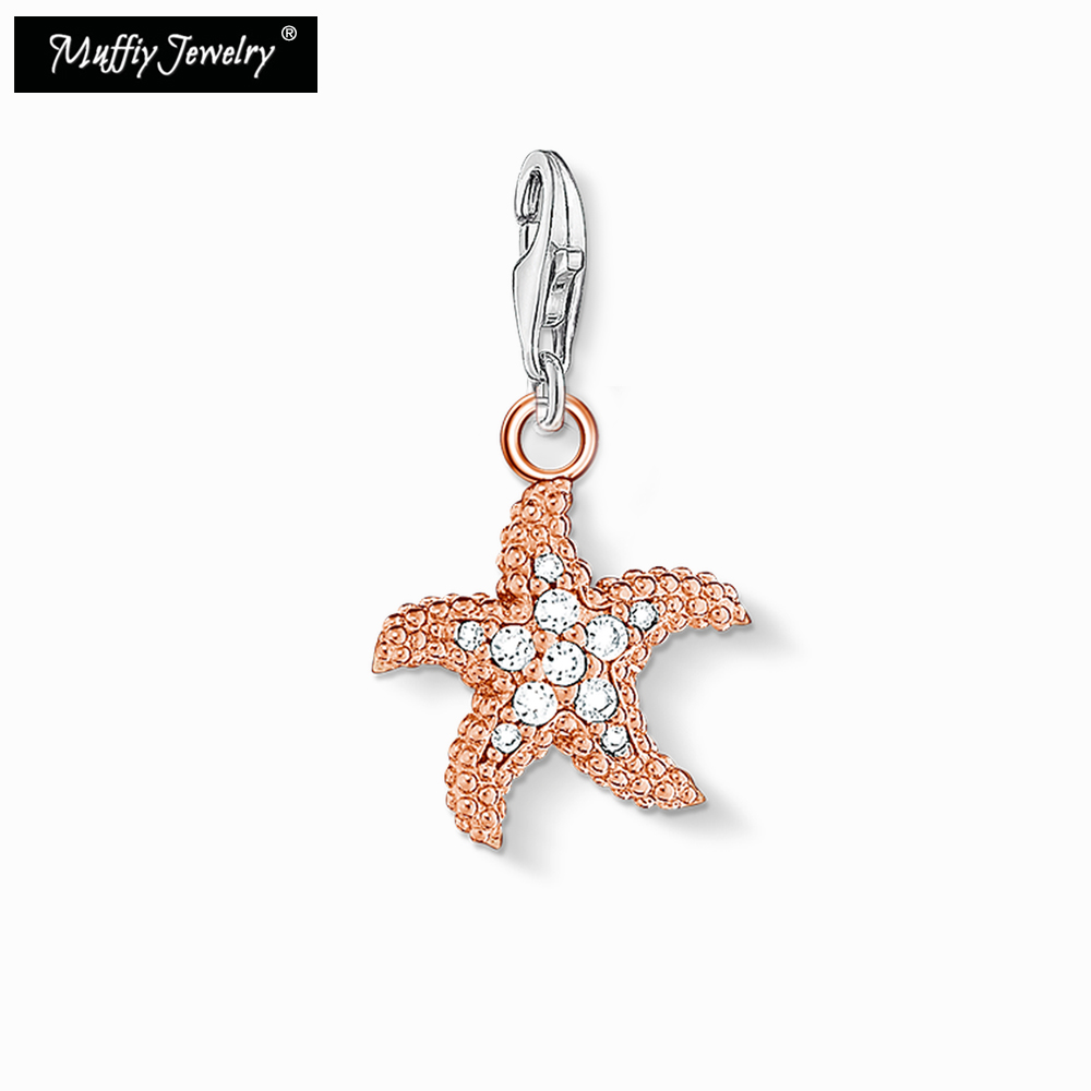 Rose Gold Starfish Charm,2018 Good Jewelry For Women Girls,Trendy Fashion Gift In 925 Sterling Silver Fit Bag Bracelet --