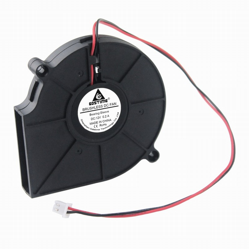 Gdstime 1 Pcs DC 12 Volt 2 Wires 7.5cm Brushless Cooling Radiator 12V Exhaust Blower Fan 75mm x 15mm