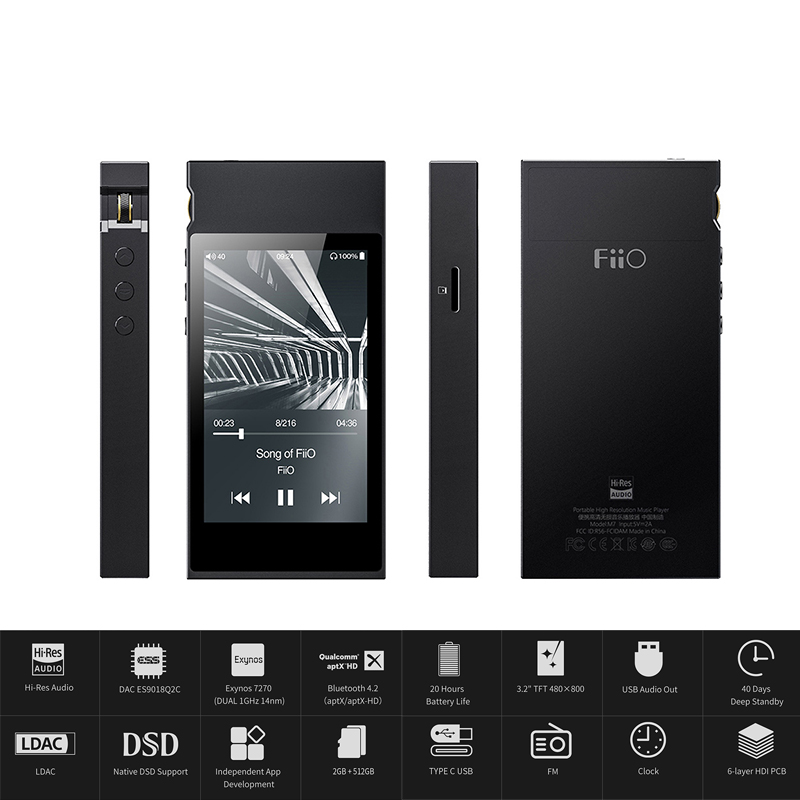 Fiio M7 Hohe-res Audio Verlustfreie Musik Player Mp3 Bluetooth4.2 Aptx-hd Ldac Touchscreen Mit Fm Radio Unterstützung Native Dsd128 SchnäPpchenverkauf Zum Jahresende Hifi-player