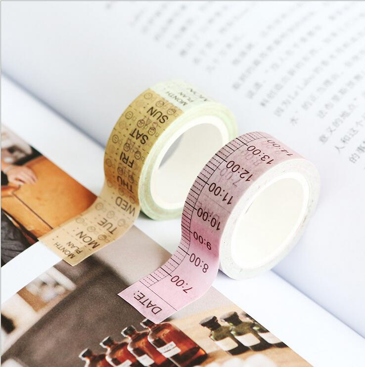 Creative Grid Note Tape Daily Time Weekly Planning Agenda Decorate Washi Tape DIY Scrapbooking Sticker Label Masking Tape Office
