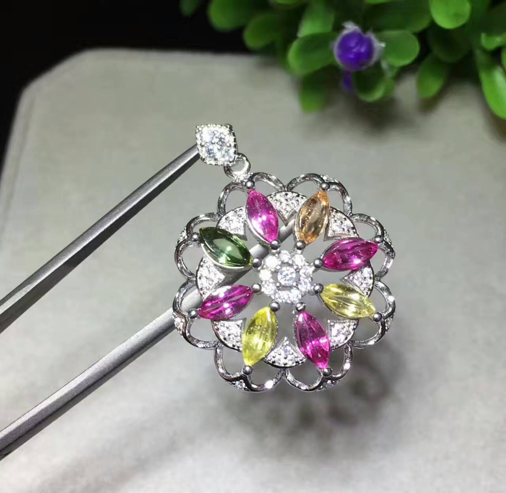 natural multicolor tourmaline pendant 925 silver Natural gemstone Pendant Necklace Fashion Elegant hydrangea Child party jewelrynatural multicolor tourmaline pendant 925 silver Natural gemstone Pendant Necklace Fashion Elegant hydrangea Child party jewelry
