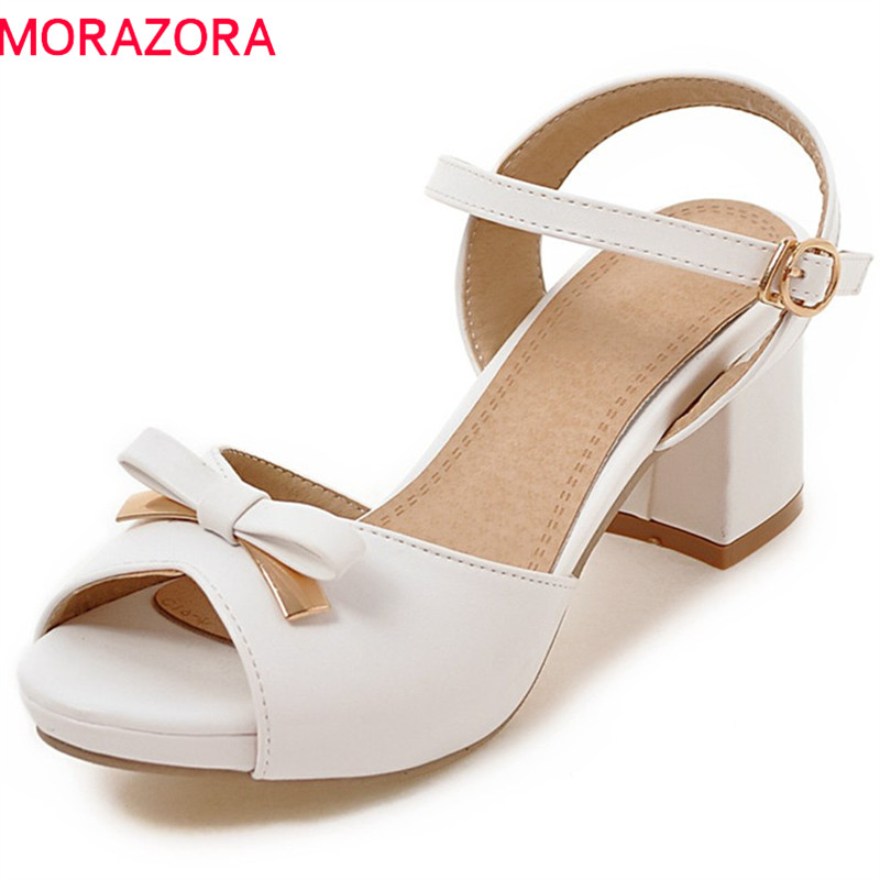MORAZORA 2018 new women sandals sweet bowknot peep toe fashion shoes simple buckle summer shoes comfortable high heel shoes memunia 2018 new arrive women summer sandals sweet bowknot casual shoes simple buckle comfortable square heele shoes woman