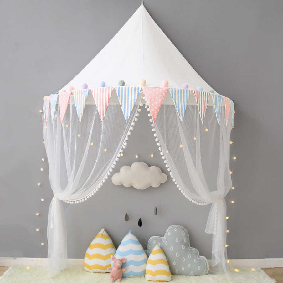 - 100% Cotton Tipi Tent Kids Baby Canopy Toddler Bed Curtain