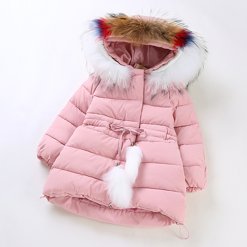 Girls Winter Cotton Padded Clothes Girls Thickening Cotton Padded Jacket Child Long Cotton Padded Jacket Coat Furry Collar Cloth new winter 2015 women cotton padded clothes draw string of cultivate one s morality show thin fashionable