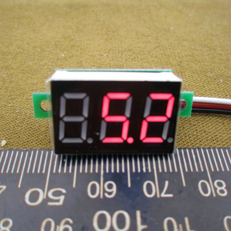 <font><b>10pcs</b></font>/lot DC 0-100V 3 wire Red Car digital display LED Voltage Volt Panel Meter <font><b>Voltmeter</b></font> Digital #0000 image